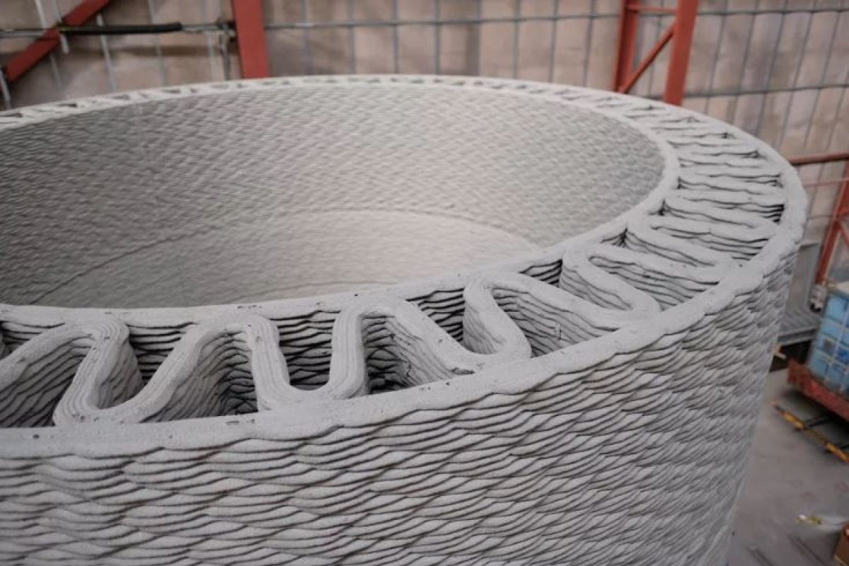 GE's prototype 3D-printed base for wind turbines GE Renewable Energy/Cobod/LafargeHolcim.